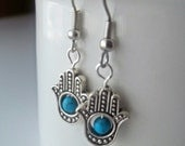 Hand of Hamsa Protection Drop Earrings with Turquoise - Evil Eye Protection Blue Turquoise Silver Dangle Earrings - Tribal Spiritual Hippie