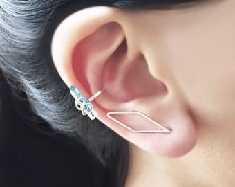 Sterling Silver Diamond Earring Pin Ear Climber Art Deco Style Geometric Line Minimalist Ear Wrap Long Bar Silver