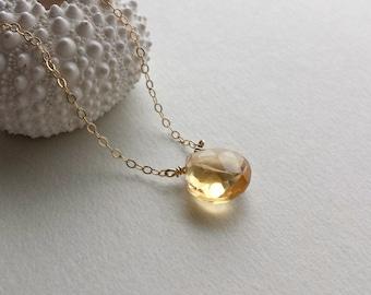 Citrine necklace, November Birthstone, Solitaire Gemstone Necklace, Citrine Solitaire, Minimalist Gemstone Necklace, Gold Gemstone Necklace
