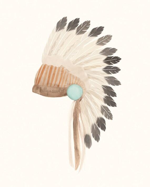 Italian Boy Name: Indian Headdress Art Print 8x10 Bohemian Tribal
