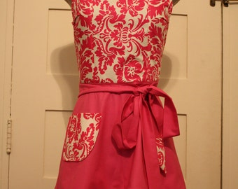 Pink Apron, Full Apron, Traditional Apron, Florish Apron, Women's Apron, Unique Christmas Gift for Her, Baker Apron, Craft Apron