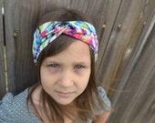 Tribal, Watercolor, Rainbow Turban Headband, Twisted Headband, Children's Headband, Women's Headband, Baby Headband, Yoga Headband