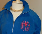 Monogram Fleece Quarter Zip Jacket Layering Piece Plus Size Available 3X 4X