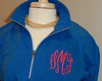 Monogram Fleece Quarter Zip Jacket Layering Piece Plus Size Available 3X 4X