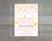 Birthday Party Invitation, Lemonade Party, Summer Birthday Party - PINK LEMONADE - Digital Printable File OR Professionally Printed Cards