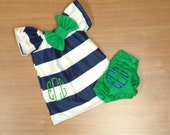 Monogrammed Navy White Stripe Dress Green Embroidery Bow Matching Diaper Cover 0-3 Month 3-6 Month 6-9 Month 12 Month 18 Month 2t 3t Easter