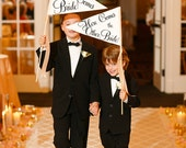 Gay Wedding Sign Package Set of 2 Large Custom Signs   Here Comes The Bride // Here Comes The Other Bride Gay Lesbian Classic Script 1073 LW