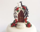 Peacock wedding cake topper in black and white with red roses handmade from polymer clay