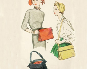 Vintage 1950's Bag and Hat Pattern, Simplicity 3322 Size Small