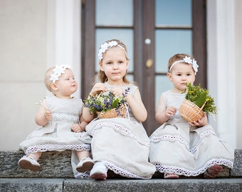 Rustic Flower girl dress and headband set - Linen girl dress and hair piece - Flower girl outfit - Country wedding flower girl outfit