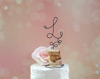 INITIAL Wine Wedding Cake Topper, Personalized Wine Lovers Wedding Cake Topper, Vineyard Wedding Cake Decoration, Wine Wedding Centerpiece,