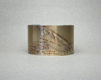 Dauphin Island Map Alabama Cuff Bracelet Wide Metal Unique Gift for Him or Her