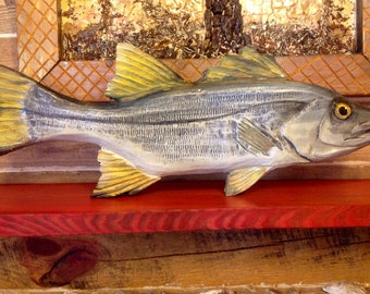 """Snook 34"""" wooden fish chainsaw carving ocean coastal fly fishing wall decor indoor outdoor original Todd Lynd nautical decorative accessory"""