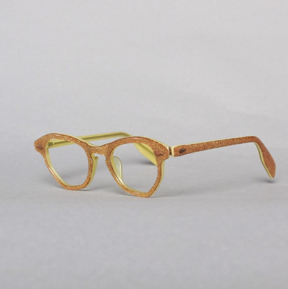 50s Gold GLITTER Glasses FRAMES / 1950s Childs Girls