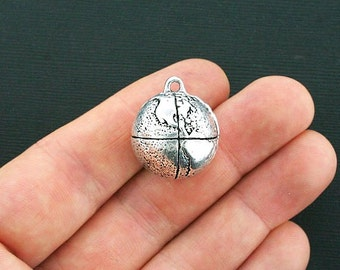 Globe Charm Antique Silver Tone Three Dimensional Beautiful Charm - SC4251