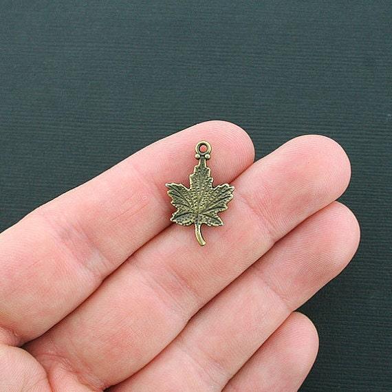 5 Maple Leaf Charms Antique Bronze Tone Terrific Details - BC174