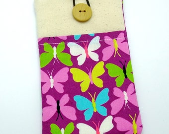R6 iPhone sleeve, iPhone pouch, Samsung Galaxy S3, S4, Galaxy note, cell phone, ipod classic touch sleeve - Butterflies