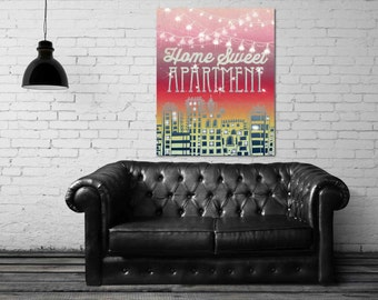 ON SALE 20% OFF Home Sweet Apartment Ii - Stretched Canvas print, apartment decor, apartment therapy, canvas art, large wall art, college ap