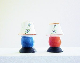 Colorful Lamps Salt Shakers - 1930s Novelty Salt And Pepper Shaker - Early Japan Pre WWII Porcelain - Vintage Miniatures - Dollhouse Decor
