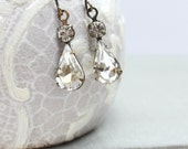 Crystal Glass Earrings Bridal Earrings Vintage Glass Clear Crystal Rhinestone Estate Style Wedding Jewelry French Romantic