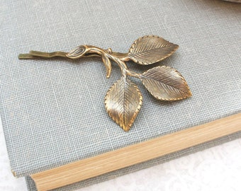 Antiqued Gold Brass Branch Bobby Pins Rustic Leaf Hair Pin Bridesmaid Gift Leaf Bobbies Garden Wedding Leaves for Hair Vintage Style Bridal