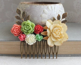 Bridal Hair Comb Red and Green Wedding Vintage Style Cream Gold Floral Collage Comb Hair Accessories Rustic Garden Wedding Bridemaids Gifts