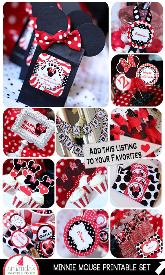 Minnie Mouse Party  Red Minnie Mouse Birthday  Minnie Mouse Party ...