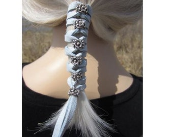 Hair Accessories Leather Hair Ties, Beaded Wraps Bohemian Clothing  Ponytail Holders Braid In Blue Gray  Z106