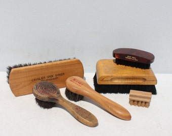 Vintage Brushes Wooden Handle Horse Hair Shoe Shine Assortment Instant Collection Lot of 6