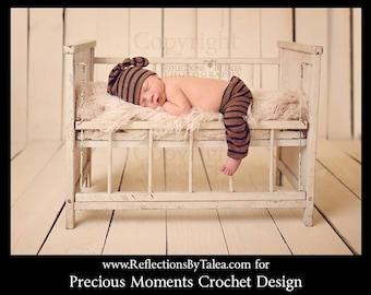 Newborn Photo Prop, Newborn Pants and Hat Set, Newborn Knit Fabric Pants and Knot Hat, Newborn Photo Prop, Baby Pants and Knoted Elf Hat