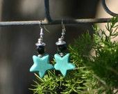 turquoise beaded earrings, earrings, star earrings, blue, black earrings, beads