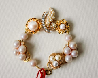 Vintage Pearl & Gold Component Bracelet - Repurposed Earrings, One of a Kind