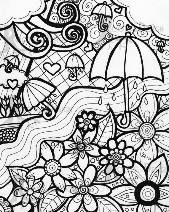 Instant download coloring page april showers bring by for May coloring pages printable