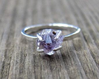 Raw amethyst ring. Silver gemstone ring. Birthstone ring band.
