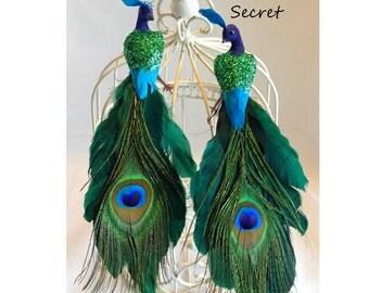Peacock Wedding Centerpiece Decoration Topper Green Decor Woodland Rustic  Bride Groom Birds Chic Love Birds Shabby