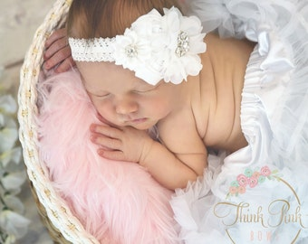 White Headband, Baby Headband, Newborn Headband,Christening Headband,Baptism Headband,Baby headbands, Baby Girl Headband, Baby Hair Bows.