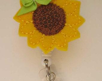 Sunflower Badge Reel - Retractable Badge Reel - ID Badge - Name Badge Holder - Nurse Badge Reel
