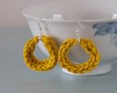 Yellow Knitted Earrings Mustard Silver Plated Hoop Earrings by Emma Dickie Design