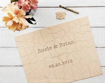 60 pc Custom Wedding Guest Book Puzzle, custom guestbook alternative, WOOD puzzle guest book, Bella Puzzles™, rustic wedding, boho wedding