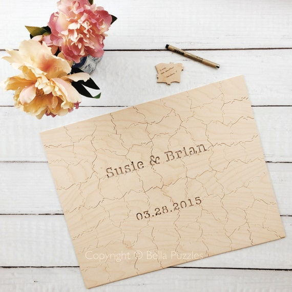 60 pc Wedding Guestbook Puzzle, custom guestbook alternative, WOOD puzzle guest book, Bella Puzzles™, rustic wedding, boho wedding