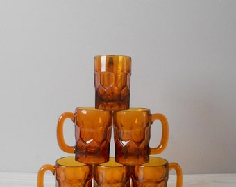 thick heavy amber glass beer mugs / set of 6