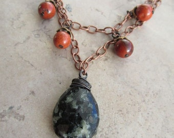 Granite and Red Jasper Copper Necklace - Rock Collector - Pretty Stones - Layered Necklace - Earth Tones