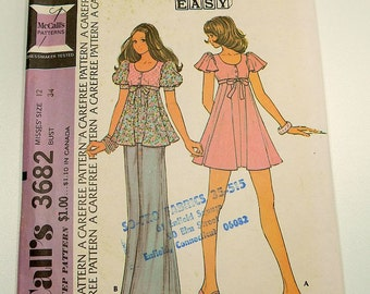 Vintage Sewing Pattern McCalls 3682 70s Vintage  Mini Dress Or Top
