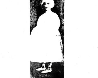 illustration Girl in Dark Room original linocut figurative portrait people