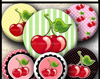 INSTANT DOWNLOAD I Love Cherries (736) 4x6 and 8.5x11 12mm circles Printable Digital Collage Sheet glass tiles cabochon earrings images