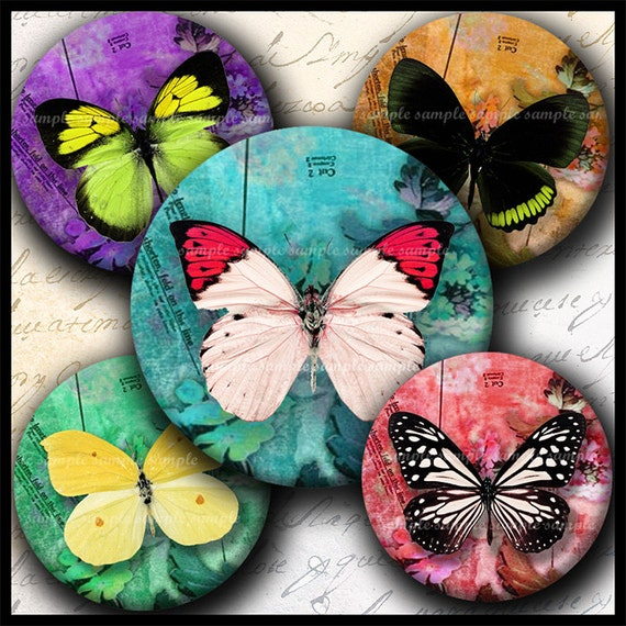 INSTANT DOWNLOAD Colorful Butterflies (122) 4x6 1 inch round Bottle Cap Images Printable Digital Collage Sheet glass tiles cabochon images