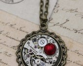 Steampunk Necklace Red Necklace Unique Necklace Crystal Necklace Steam Punk Jewelry Antique Brass Vintage 16 - 18 from Inspired by Elizabeth