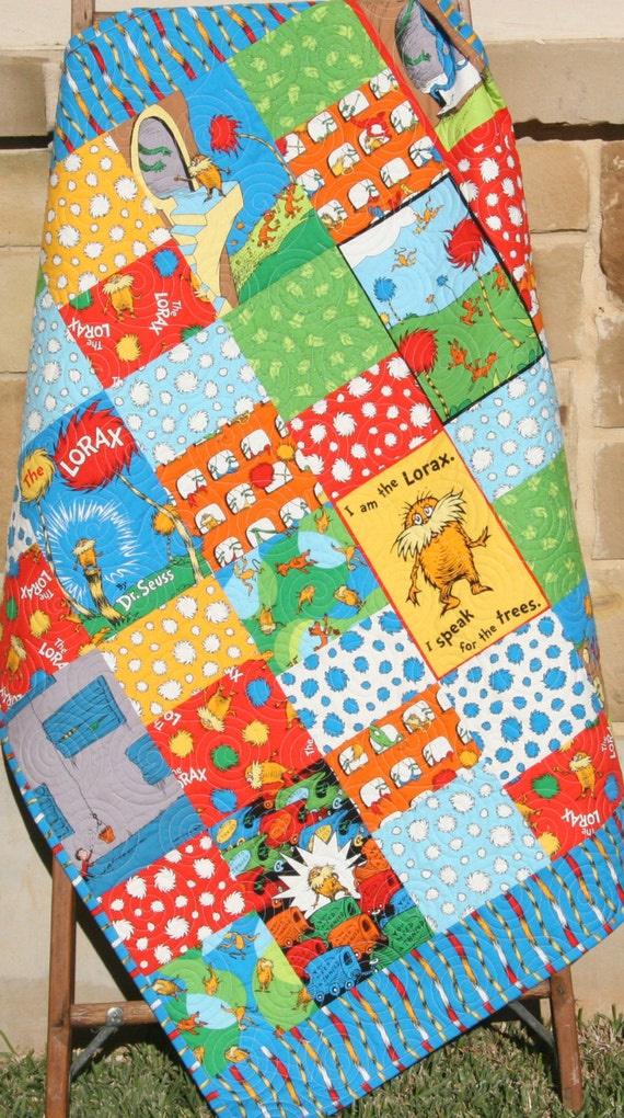 Lorax Baby Quilt Bright Organic All Natural Boy or Girl Unisex Blanket Dr Seuss Cat in the Hat Red Blue Primary Color Nursery Bedding Crib