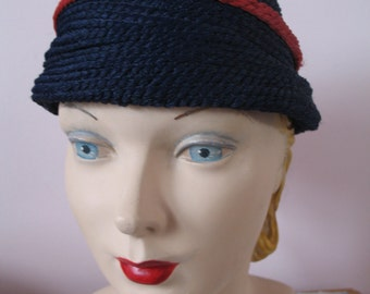 1940's Hat, Blue, Red with Tassel Pony Tail, Spunwoven by Everitt
