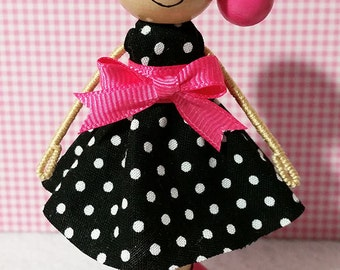 Molly Miniature Wooden Clothespin Doll